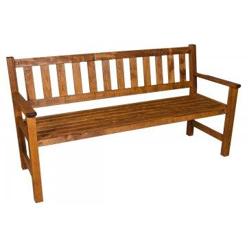 Παγκάκι τριθέσιο KLARA από μασίφ ξύλο οξιάς σε χρώμα κερασί εμποτισμού 162x65x85 εκ.