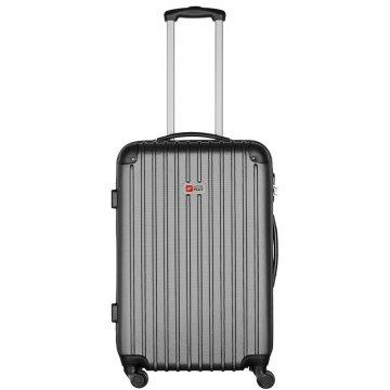 Βαλίτσα τρόλεϋ μεσαία ABS σκληρή σε γκρι χρώμα 43x27x70 εκ.