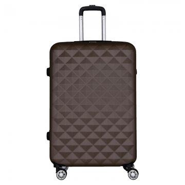 Βαλίτσα τρόλεϋ μεγάλη ABS σκληρή σε χρώμα καφέ 50x29x79 εκ.
