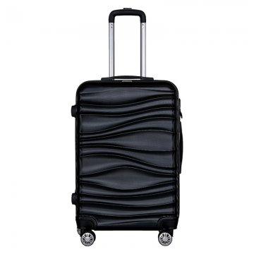 Βαλίτσα τρόλεϋ μεσαία ABS σκληρή σε χρώμα μαύρο 44x26x68 εκ.