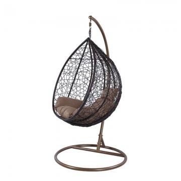 Κούνια κρεμαστή πολυθρόνα Nest/10 μεταλλική με επένδυση wicker χρώμα καφέ