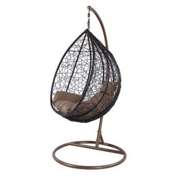 Κούνια κρεμαστή πολυθρόνα Nest/11 μεταλλική με επένδυση wicker χρώμα καφέ