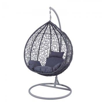 Κούνια κρεμαστή πολυθρόνα Nest/12 μεταλλική με επένδυση wicker χρώμα ανθρακί
