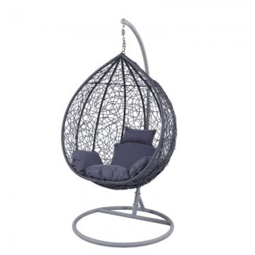Κούνια κρεμαστή πολυθρόνα Nest/13 μεταλλική με επένδυση wicker χρώμα ανθρακί