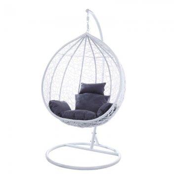 Κούνια κρεμαστή πολυθρόνα Nest/14 μεταλλική με επένδυση wicker χρώμα λευκό