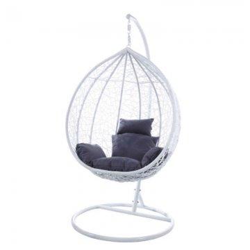 Κούνια κρεμαστή πολυθρόνα Nest/15 μεταλλική με επένδυση wicker χρώμα λευκό