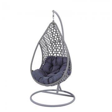 Κούνια κρεμαστή πολυθρόνα Nest/16 μεταλλική με επένδυση wicker χρώμα ανθρακί