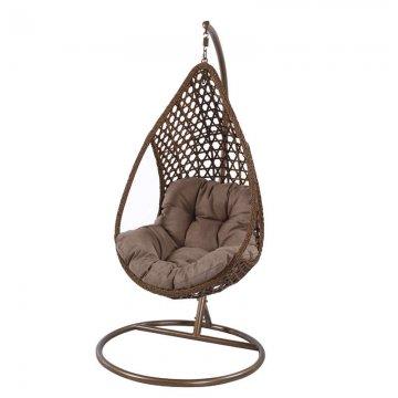 Κούνια κρεμαστή πολυθρόνα Nest/17 μεταλλική με επένδυση wicker χρώμα καφέ