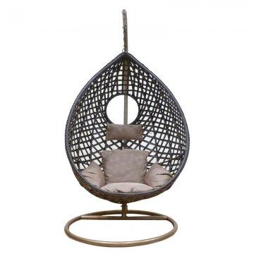 Κούνια κρεμαστή πολυθρόνα Nest/20 μεταλλική με επένδυση wicker χρώμα καφέ
