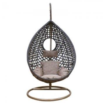 Κούνια κρεμαστή πολυθρόνα Nest/21 μεταλλική με επένδυση wicker χρώμα καφέ