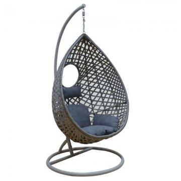 Κούνια κρεμαστή πολυθρόνα Nest/23 μεταλλική με επένδυση wicker χρώμα ανθρακί