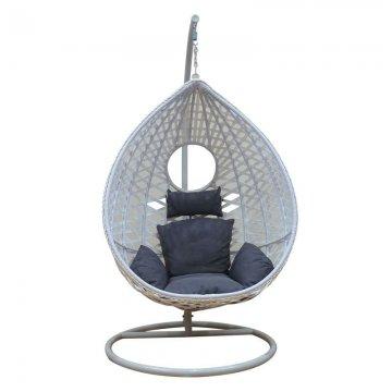 Κούνια κρεμαστή πολυθρόνα Nest/24 μεταλλική με επένδυση wicker χρώμα λευκό