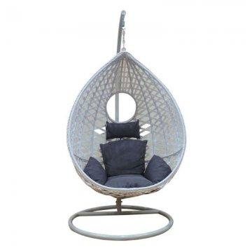 Κούνια κρεμαστή πολυθρόνα Nest/25 μεταλλική με επένδυση wicker χρώμα λευκό