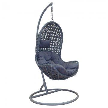 Κούνια κρεμαστή πολυθρόνα Nest/29 μεταλλική με επένδυση wicker χρώμα ανθρακί